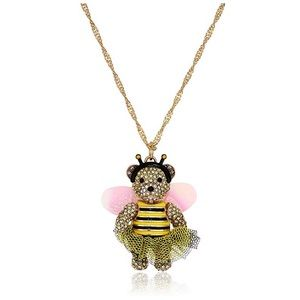 Betsey Johnson Yellow & Black Bee Necklace NWT